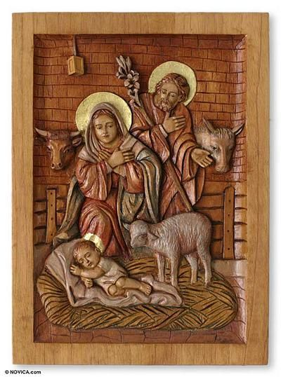 Cedar relief panel nativity in a stable by novica