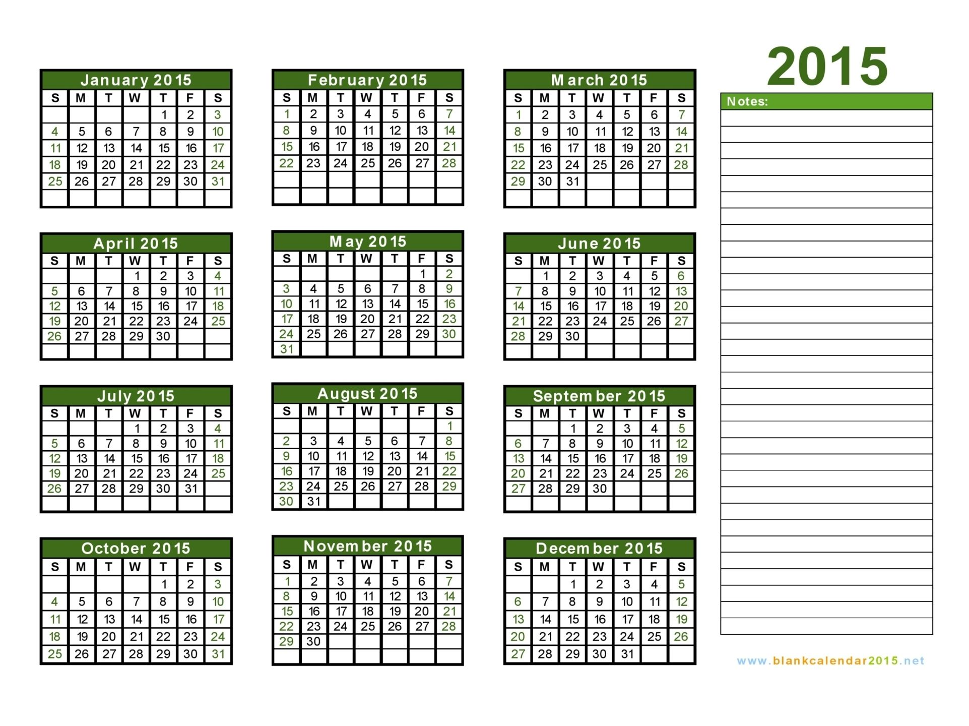 2015 calendars | Blank Calendar 2015 - Free Download Yearly ...