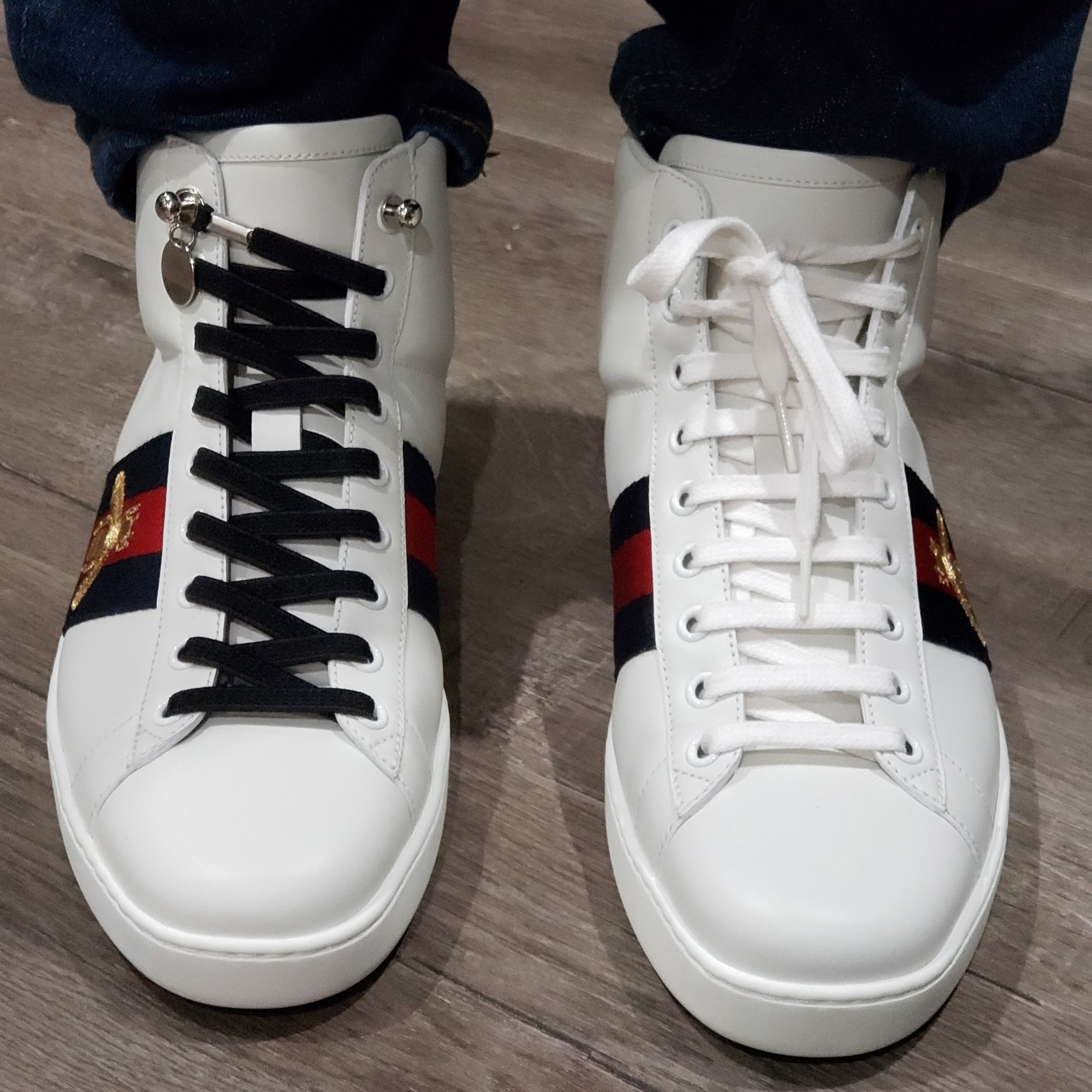 11e2d9253 using no tie shoelaces on Gucci High Top Sneakers | No Tie Shoelaces ...