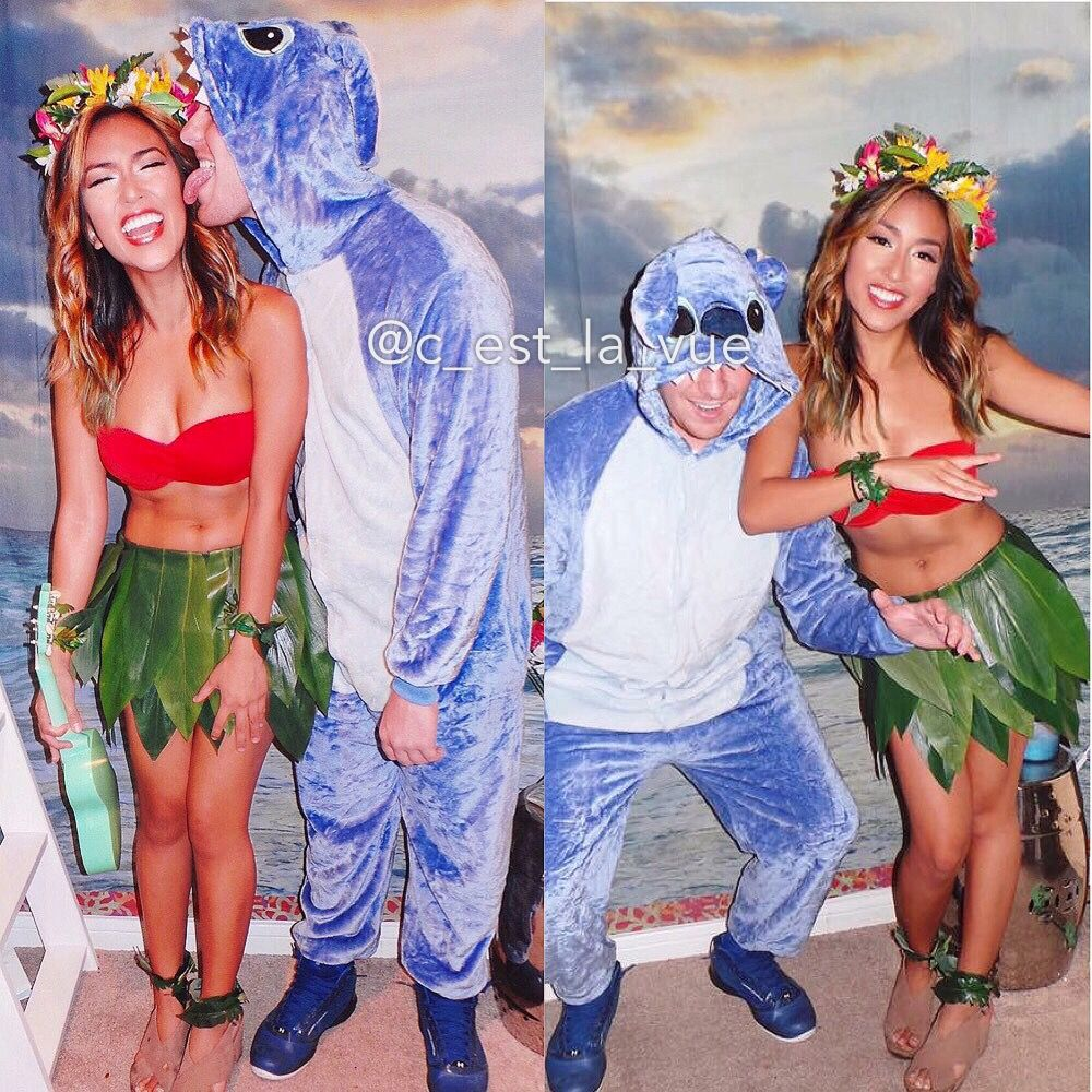 Disney Lilo And Stitch Diy Halloween Costume Couple Costume C Est Cute Couple Halloween Costumes Scary Couples Halloween Costumes Stitch Halloween Costume
