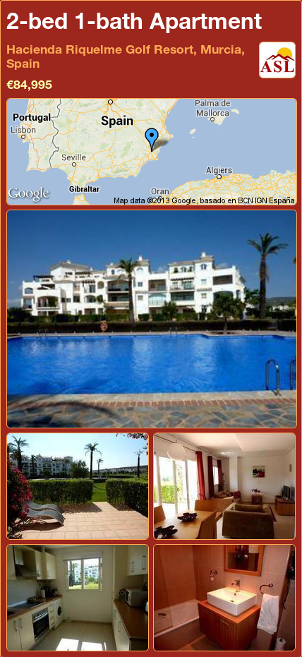 Apartment For Sale In Hacienda Riquelme Golf Resort Murcia Spain With 2 Bedrooms 1 Bathroom A Spanish Life Hacienda Apartments For Sale Golf Resort