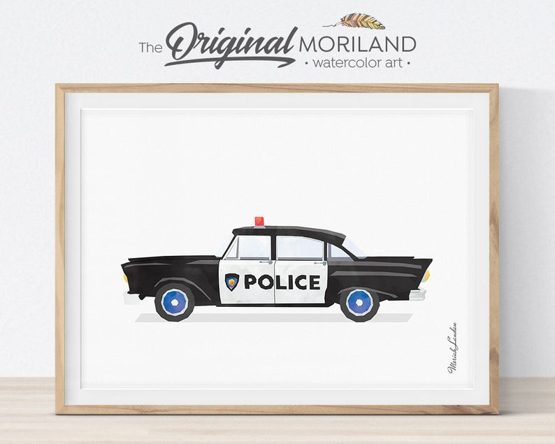 Vintage Police Car Print Police Wall Art Police Decor Etsy Boys Room Decor Boy Room Toddler Room Decor