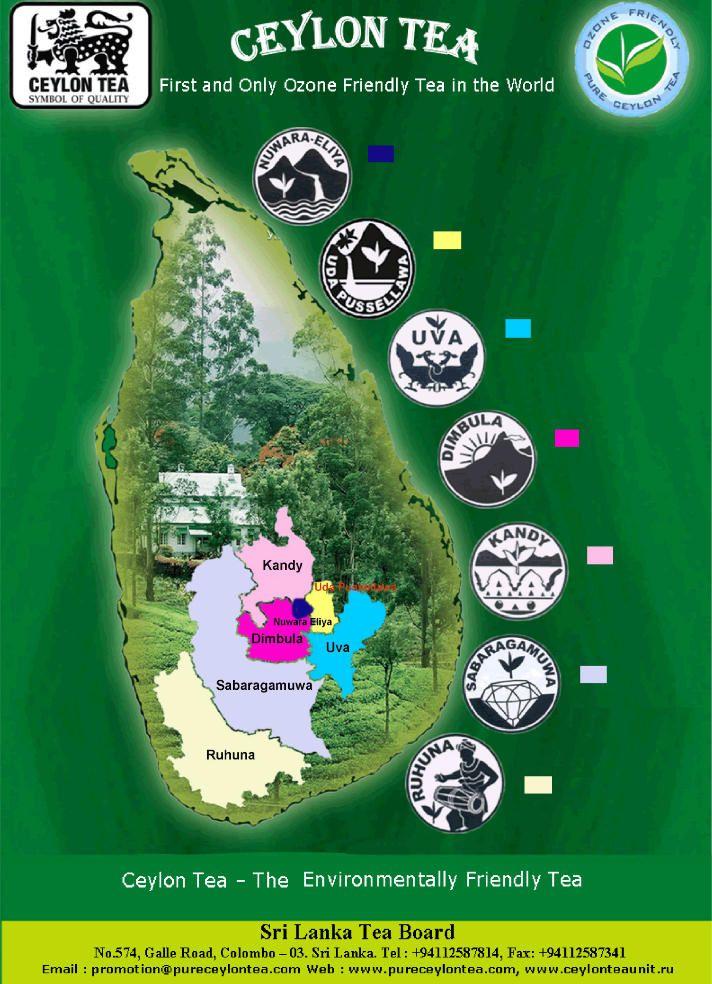 Tea Map Of CeylonSri Lanka Tea Time Pinterest Ceylon Sri - Map of teas
