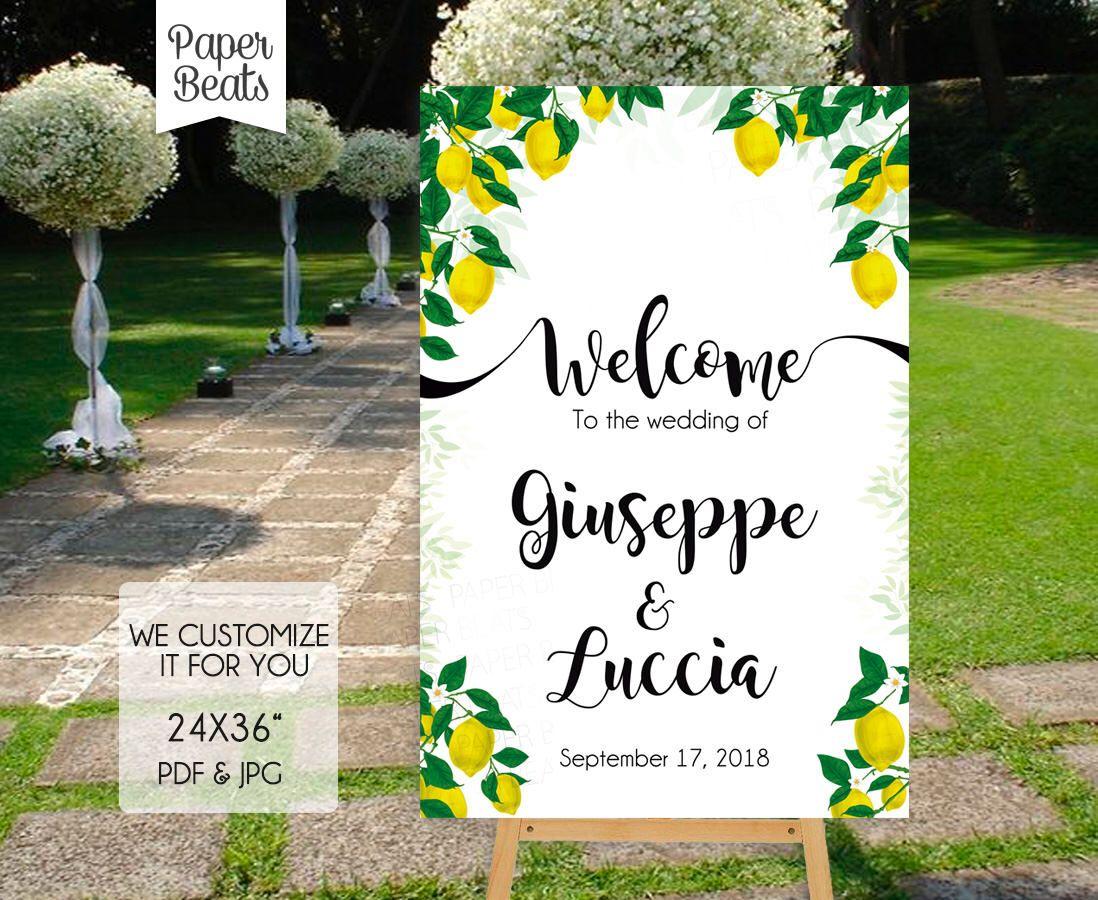 Lemon Themed Welcome Sign, Lemon Wedding Theme, Limoncello Sign ...