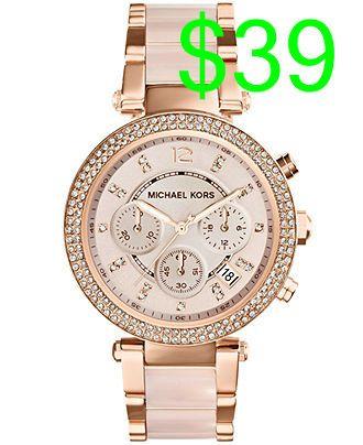 Michael Kors Womens Chronograph Parker Blush And Rose Gold Tone Stainless Steel Bracelet Watch 33mm Mk5896 Wat Handtaschen Michael Kors Rosa Uhr Michael Kors