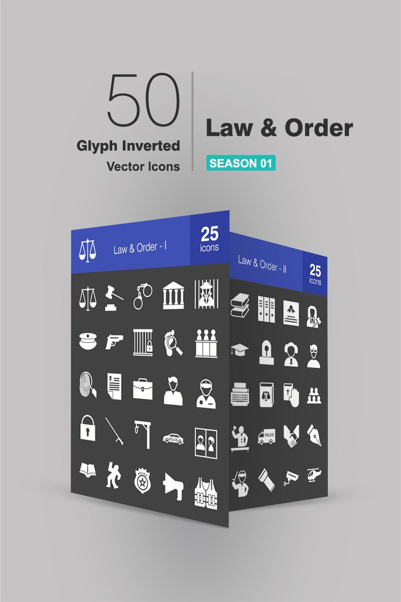 50 law order glyph inverted iconset template 94058 in