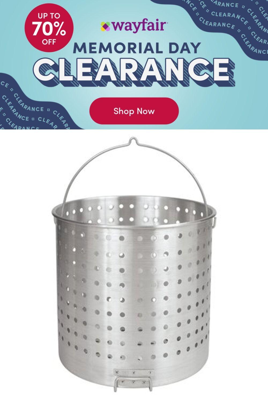 Bayou Classic Bayou Classic® B800   Aluminum Basket w/ Helper Handle Basket, Aluminum in Silver, Size 80 quart   Wayfair