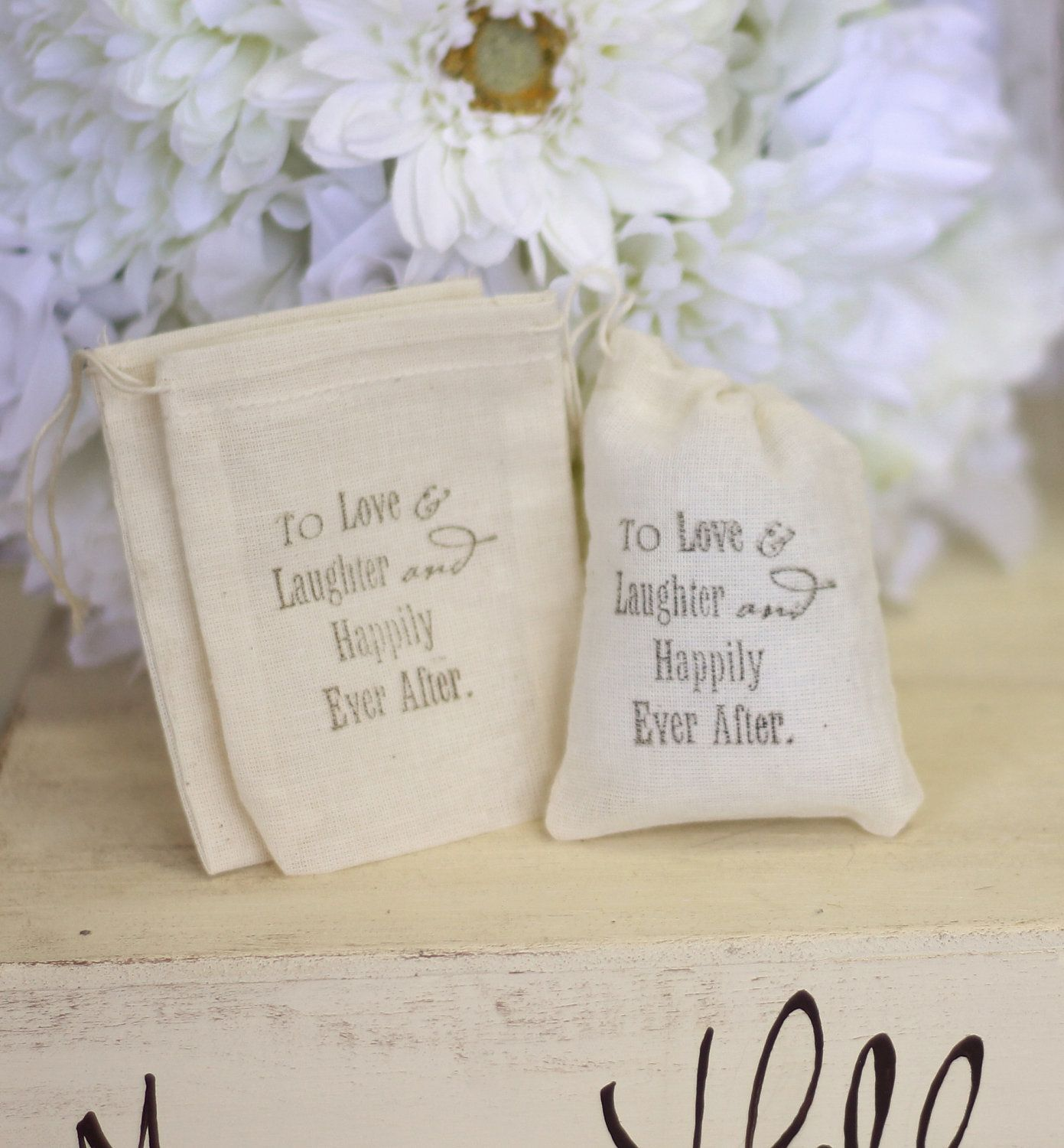 Rustic Wedding Favor Bags LOVE Quote Candy Bags by braggingbags ...