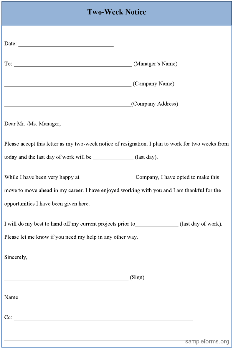 resignation letter sample 2 weeks notice two week notice form sample two