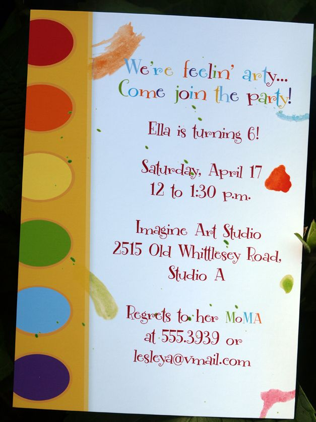 Art Party Invite Artist Birthday Party Art Party