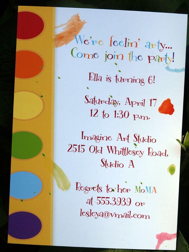 Art Party Invite Party Art Party Invitations Artist Birthday