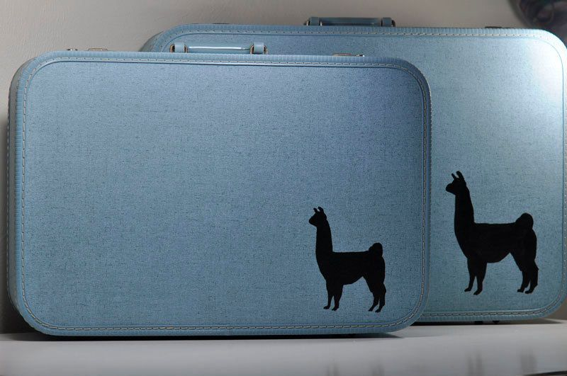 Upcycled Vintage Blue Suitcase Set with Hand-Painted Alpaca Silhouettes. $120.00, via Etsy. #vintage #luggage