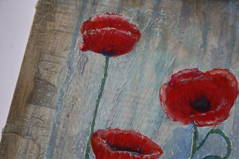 Detail, Poppies of Picardy  By Rowan Sivyer.  Collage and Acrylic on Canvas