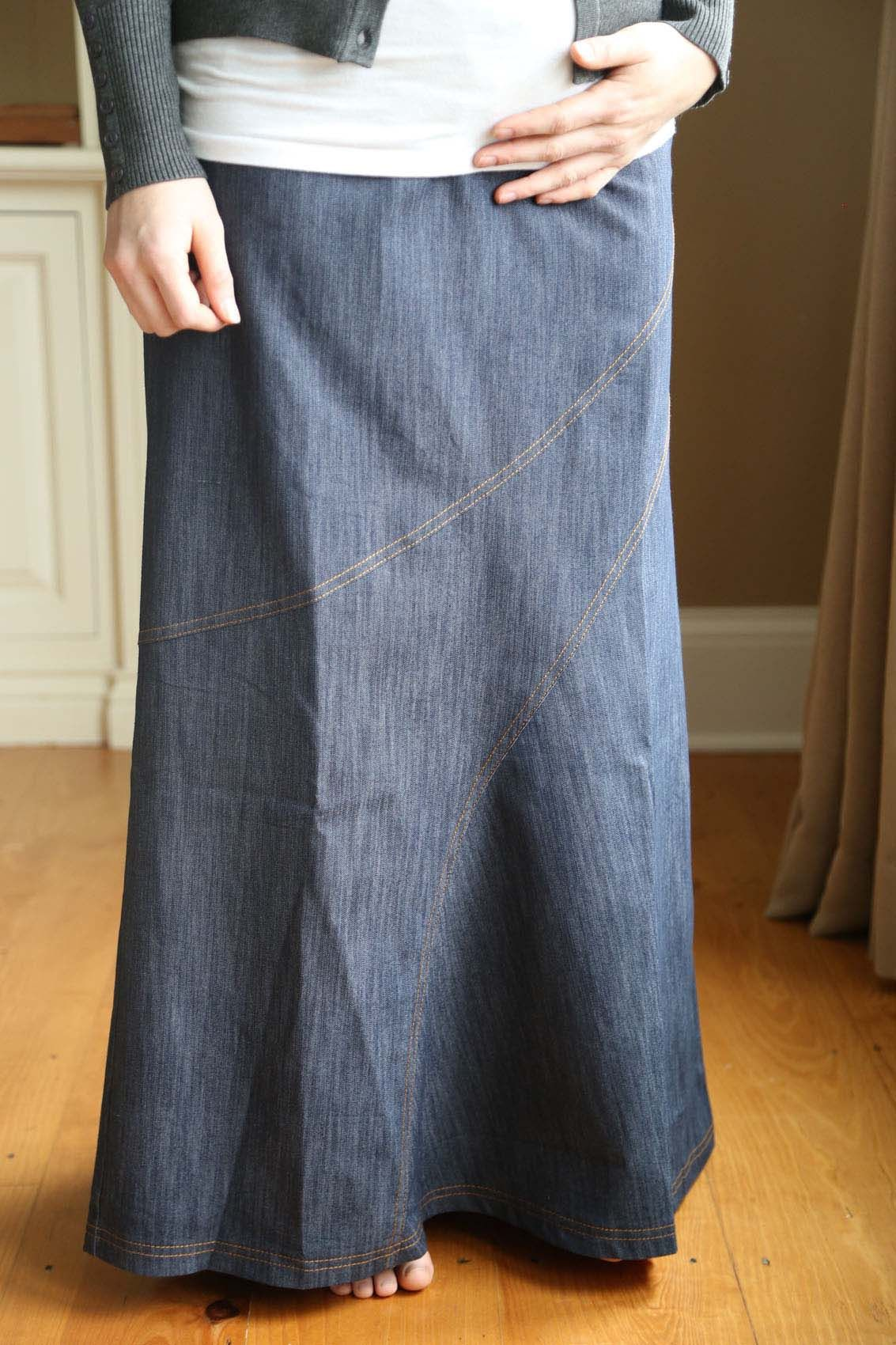 more photos online shop best value Diagonal Denim Long Maternity Skirt | Maternity skirt, Long ...
