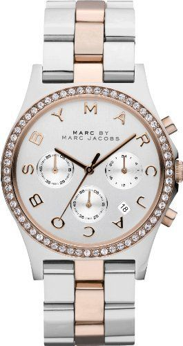 Marc by Marc Jacobs MBM3106 Women s Henry Chrono Crystal Accents Bezel  Silver Dial Two Tone Stainless 81c5235f7c