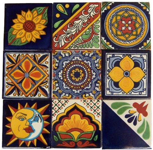 "Hand Painted Decorative Tiles Custom 9 Hand Painted Talavera Mexican Tiles 4""x4"" Spanish Influence Casa 2018"