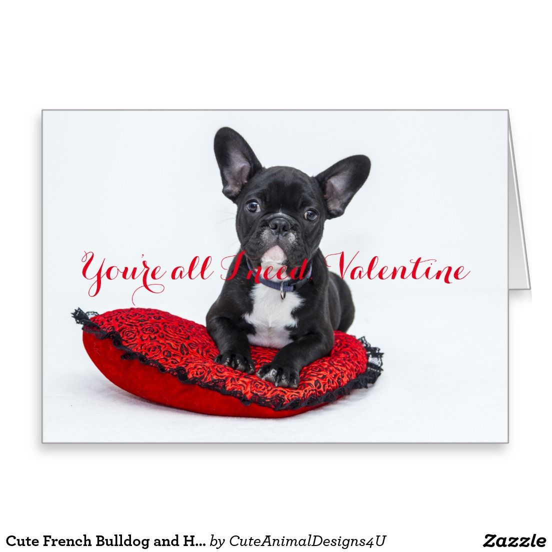 Cute French Bulldog and Heart for Valentineus Day Card French bulldogs