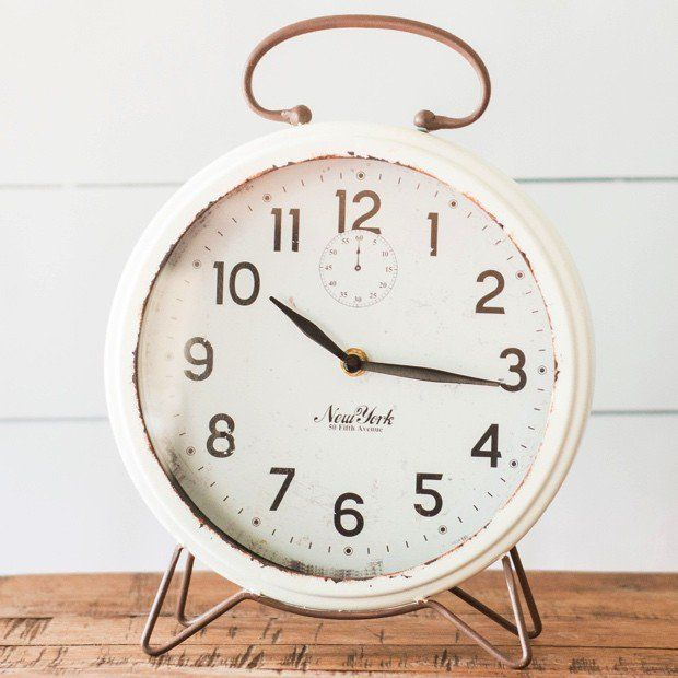 Metal Rustic White Table Clock Clock Decor Rustic White Old Clocks