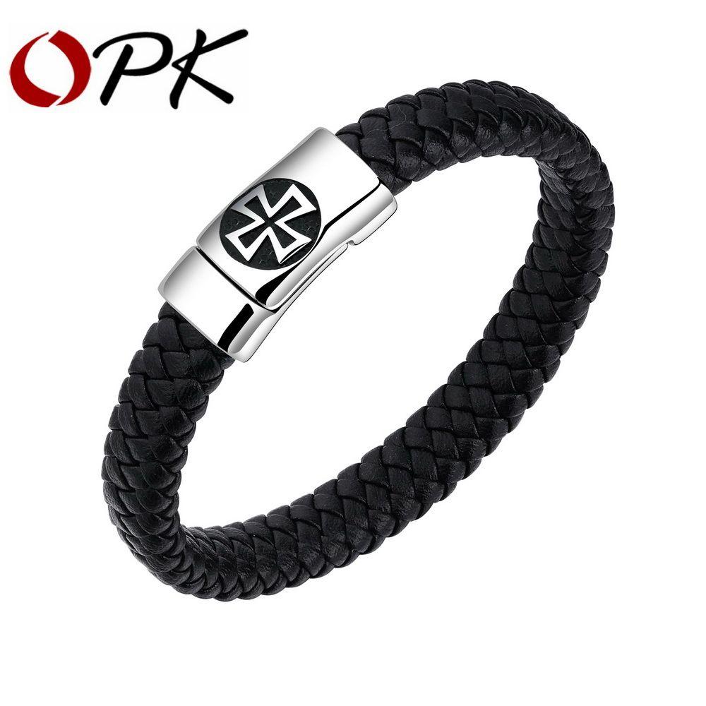 Opk punk cross leather bracelet for men stainless steel magnet