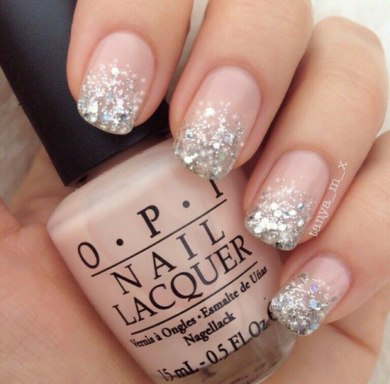 Light pink silver glitter ombre nail art