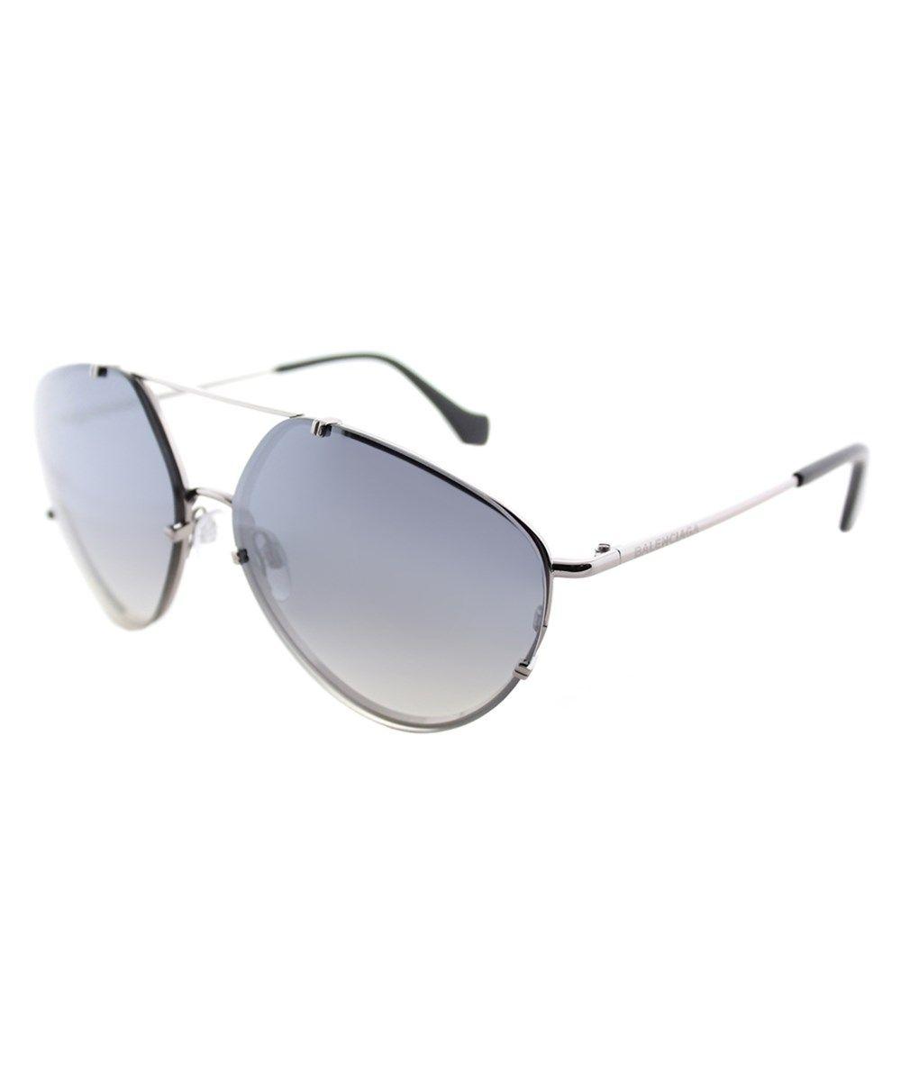 5174a6500177 BALENCIAGA Ba0085 14c Shiny Light Ruthenium Geometric Aviator Sunglasses. # balenciaga #