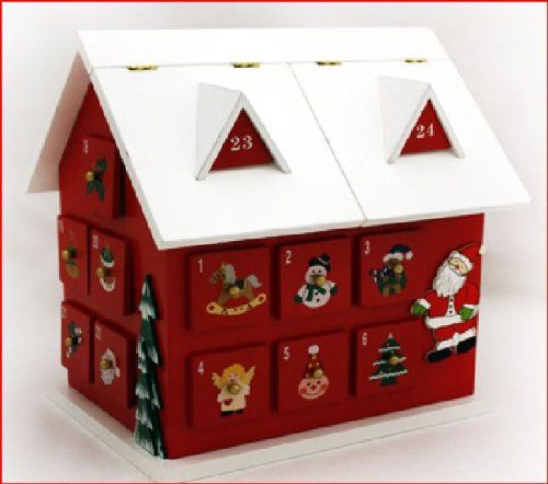 Christmas Wooden Advent Calendar Large Cottage With Drawers Amazon