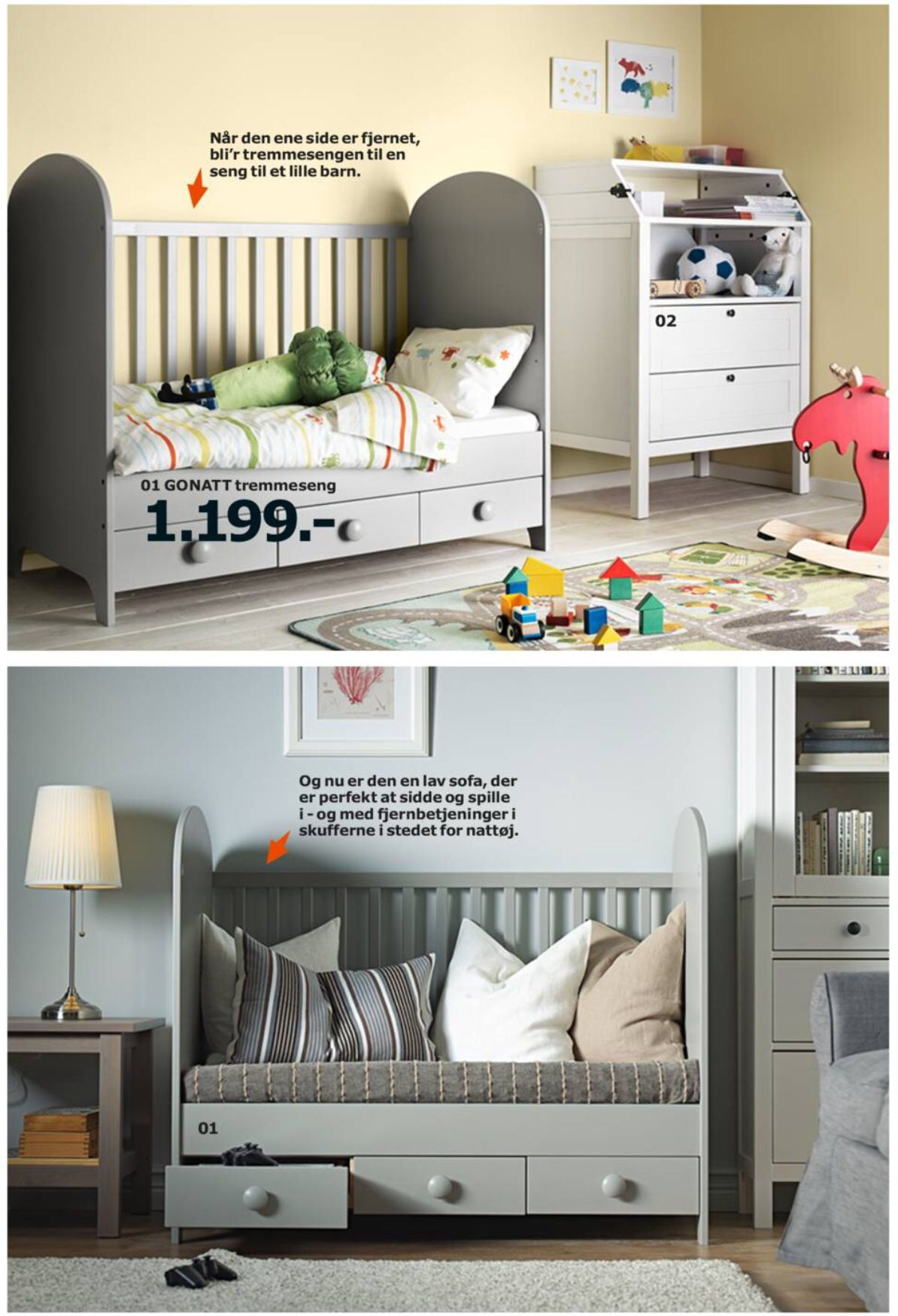 IKEA Gonatt kids bed turn into toddler bed or low couch