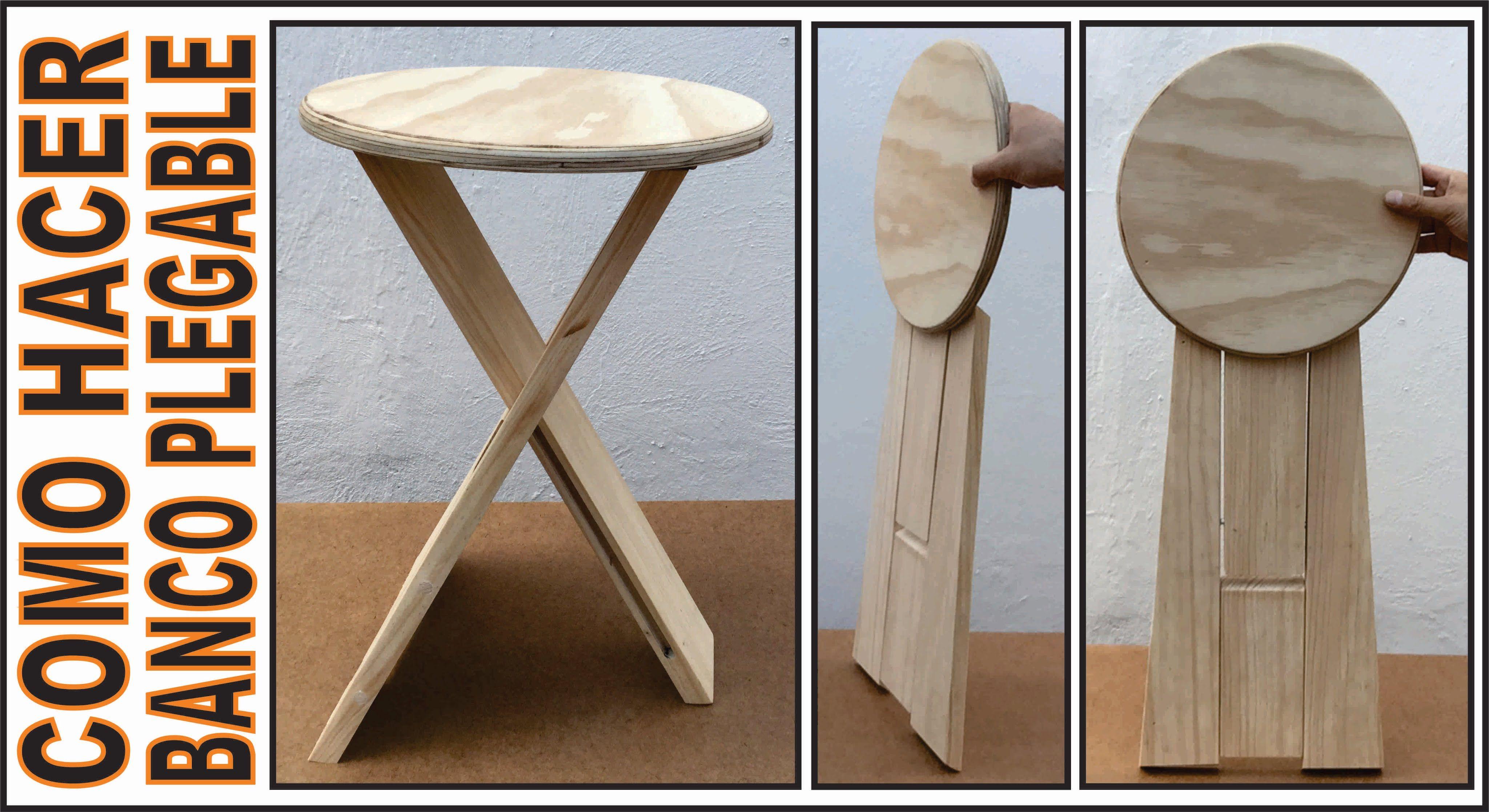 Como hacer un banco de madera plegable facil de cargar y - Banco de madera ...