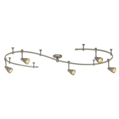 Hampton bay 10 ft 5 light brushed steel line voltage flexible track 99 hampton bay 10 ft stainless steel line voltage flexible track lighting fixture kit mozeypictures Images