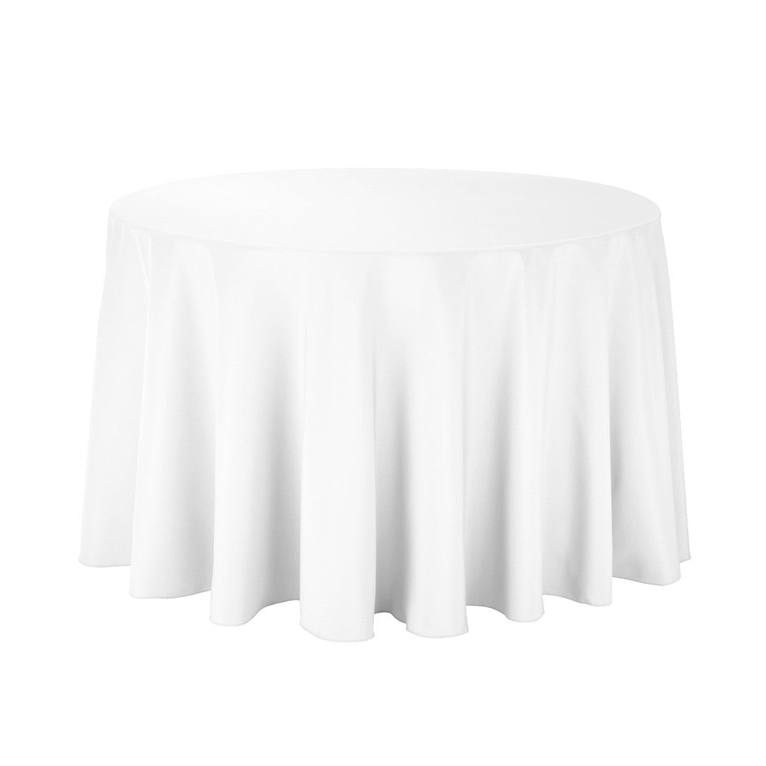 108 Inch Round Economy Polyester Tablecloth White On A 48 Inch Round Table Price At 8 25 And Free Shipping Over White Table Cloth Table Cloth Round Tablecloth