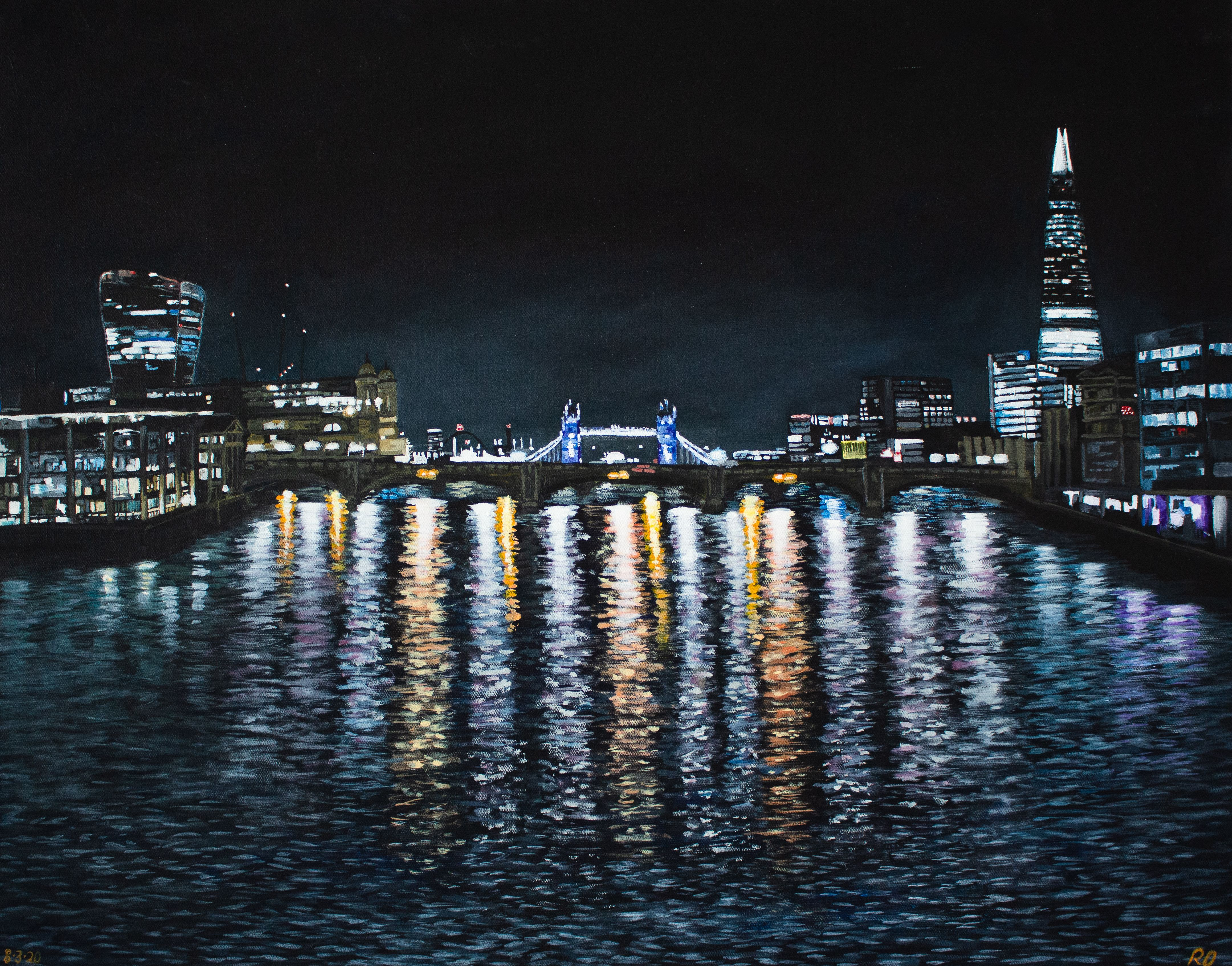 London On The Thames River Night Reflections In The Etsy Night Reflection River Thames Water Printing Tower bridge night reflections london hd
