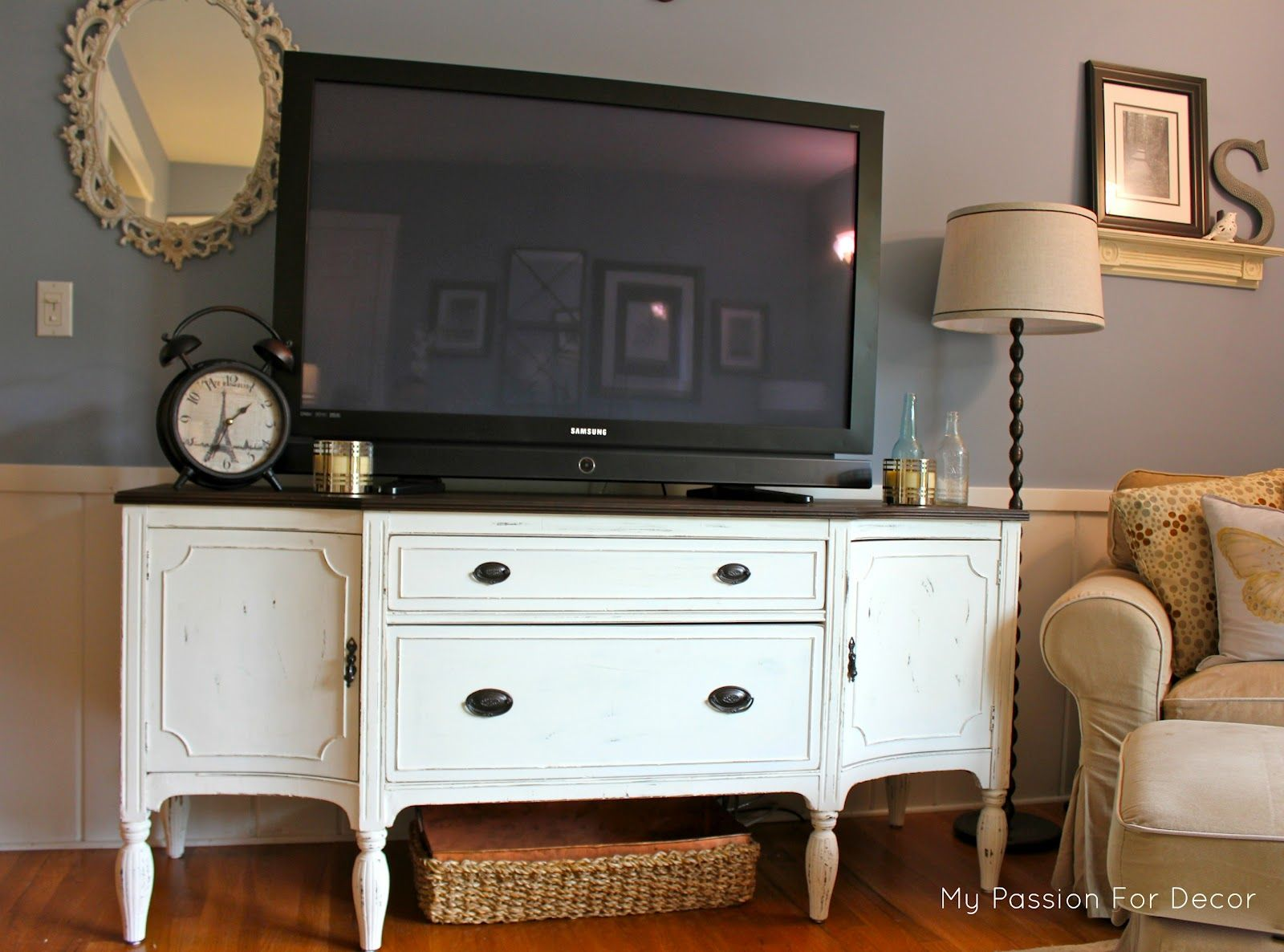 My Passion For Decor Craigslist Buffet Turned Media Cabinet