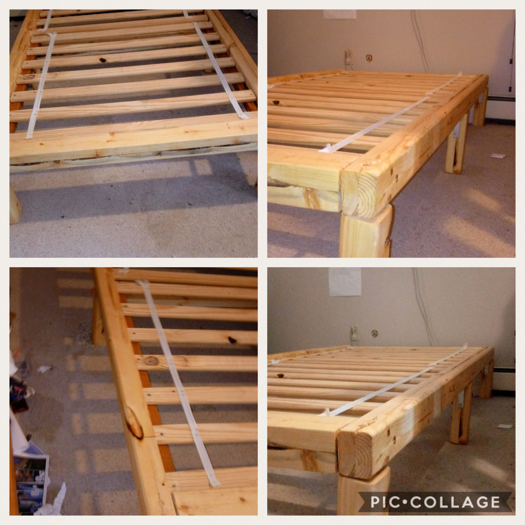 Bed Frame Made With 4x4 Beams The Beams Were Made From Repurposed