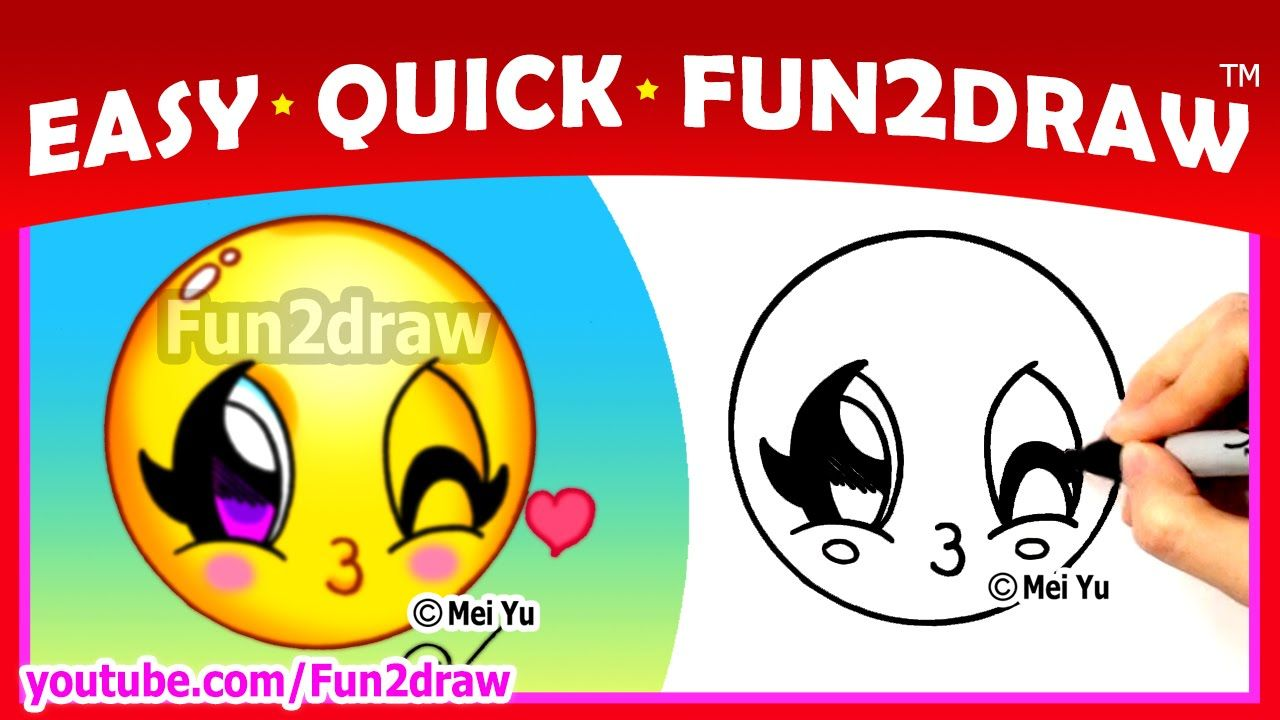 How To Draw Step By Step Super Cute Emoji Face Easy Quick Fun2draw Drawings For Beginners Kids How To Draw Steps Cute Disney Drawings Cute Emoji