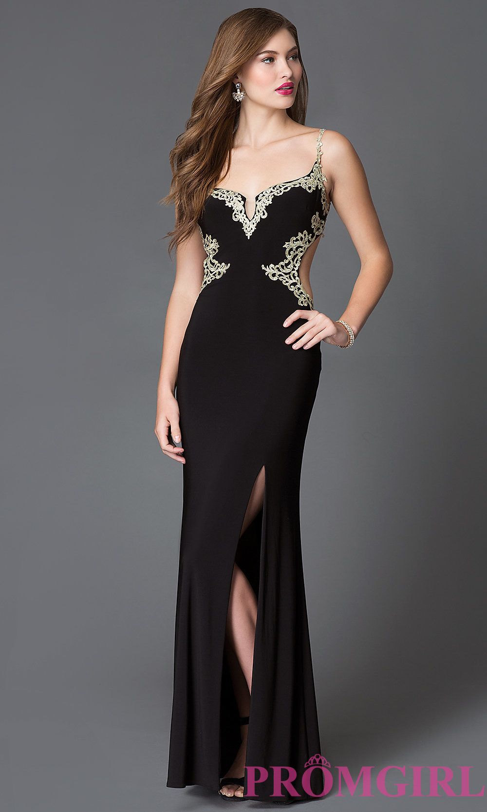 abf24ffc480 Image of long black sleeveless open back gold lace side slit dress Front  Image