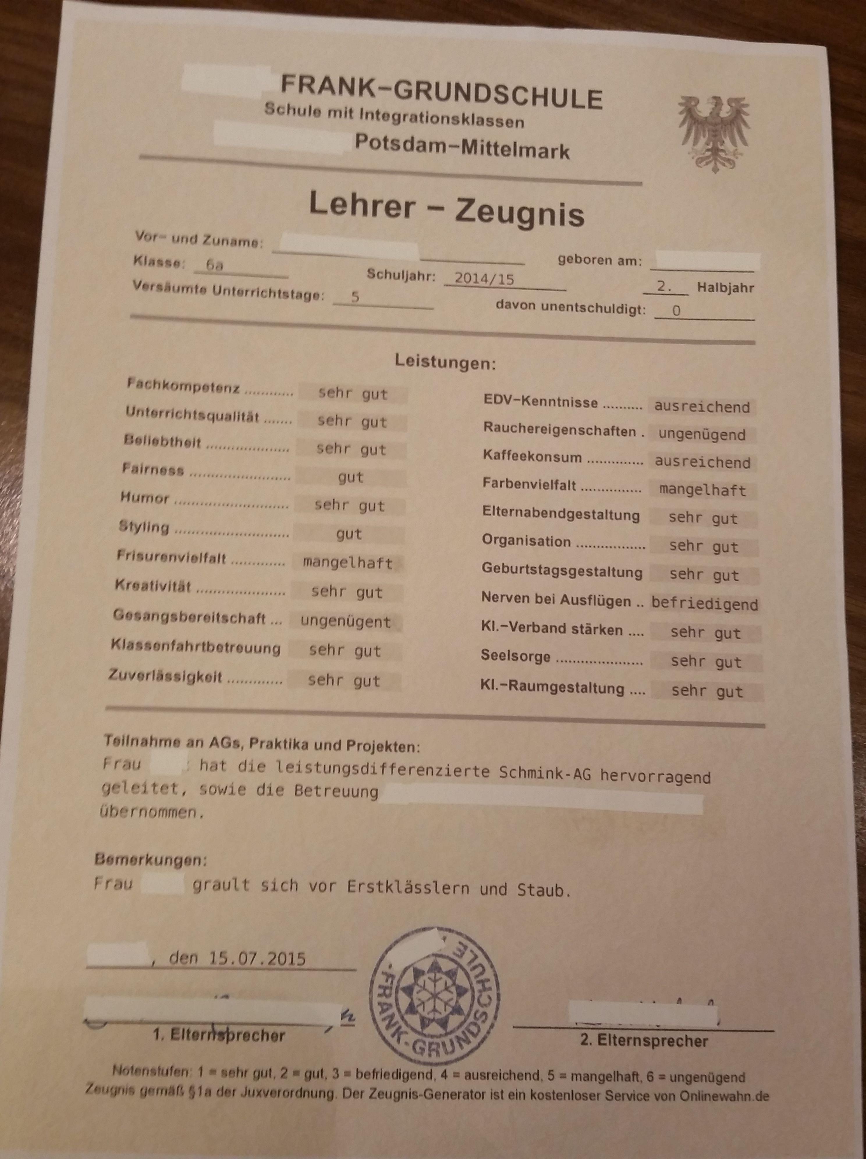 Zeugnis Lehrer als Abschiedsgeschenk | School | Pinterest ...