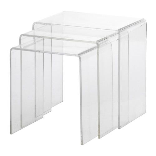 Jappling Nest Of Tables Set Of 3 Transparent Buy Coffee Table Ikea New Homes