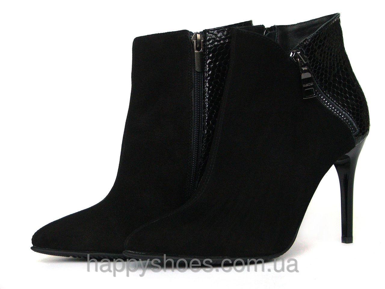 e3a2cf11 Купить Ботинки на шпильке из черной замши с лаковой вставкой и молнией в Запорожье  от компании