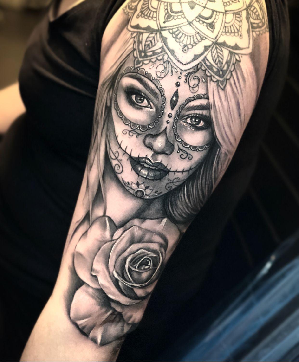 Tattoo Sugarlady Roses Skull Rose Tattoos Skull Girl Tattoo Sugar Skull Tattoos