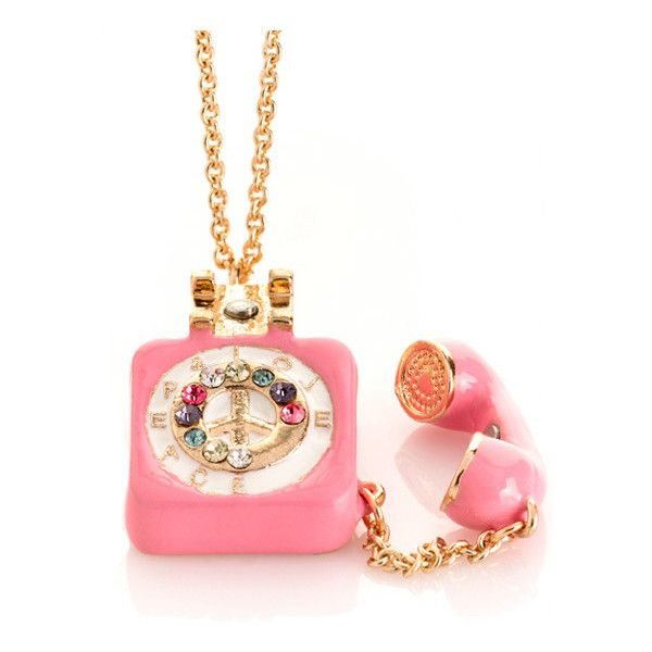 Me Zena Dream Phone Necklace in Pink ❤ liked on Polyvore