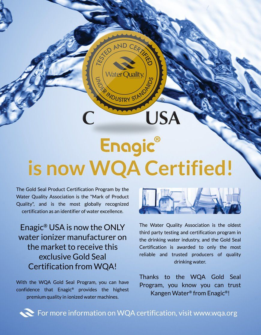 Were You Aware That Only Enagic Has Full Wqa Certification Don T Be Fooled When Other Makers Tout Wqa Papers They Very Often Only Apply To Lead Wasser Manila