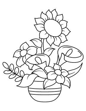 Ausmalbild Sonnenblume Im Blumentopf In 2020 Bunte Zeichnungen Blumenzeichnung Sonnenblumen Malen