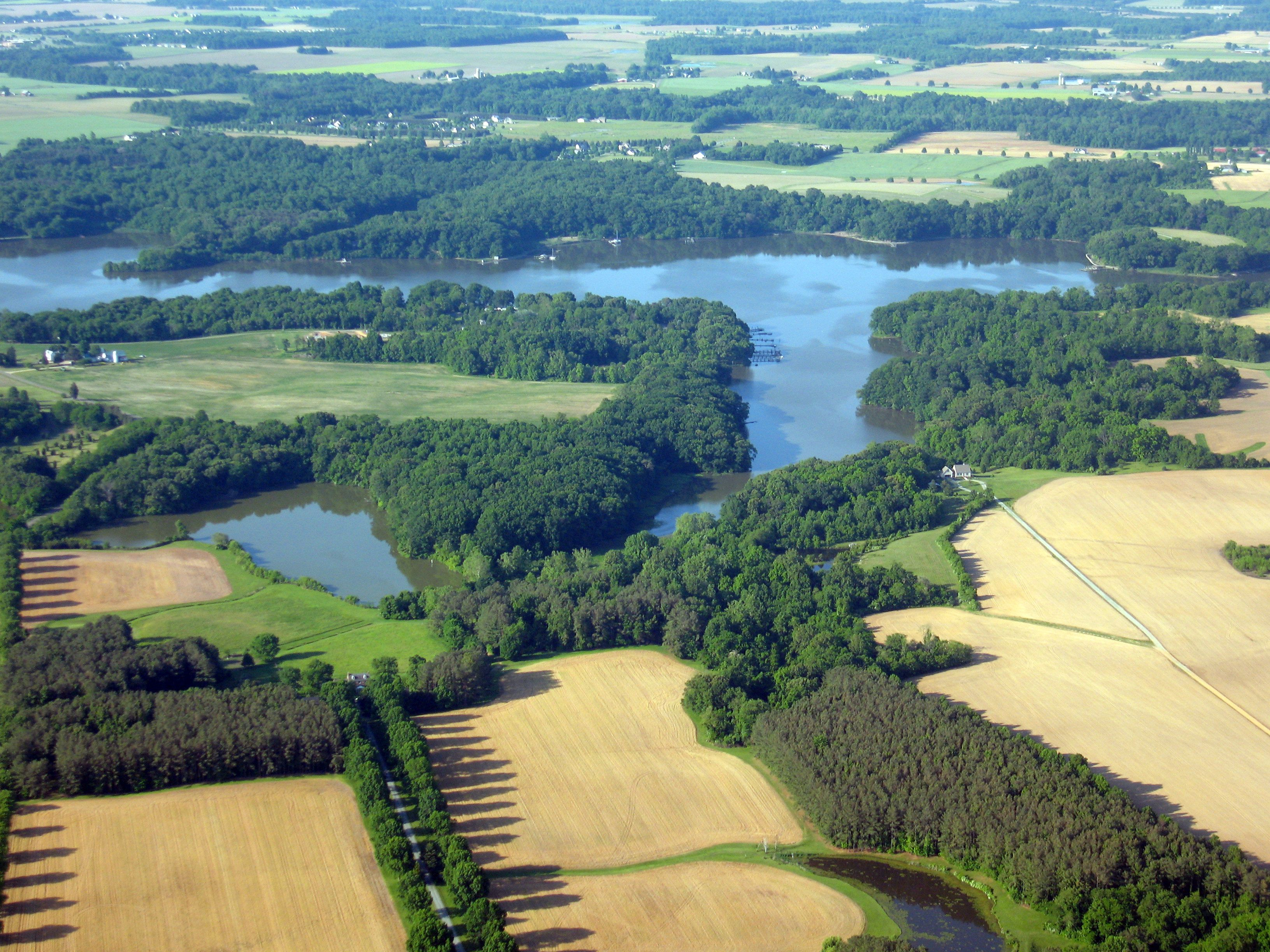 Aerial view of Maryland farmland with Riparian