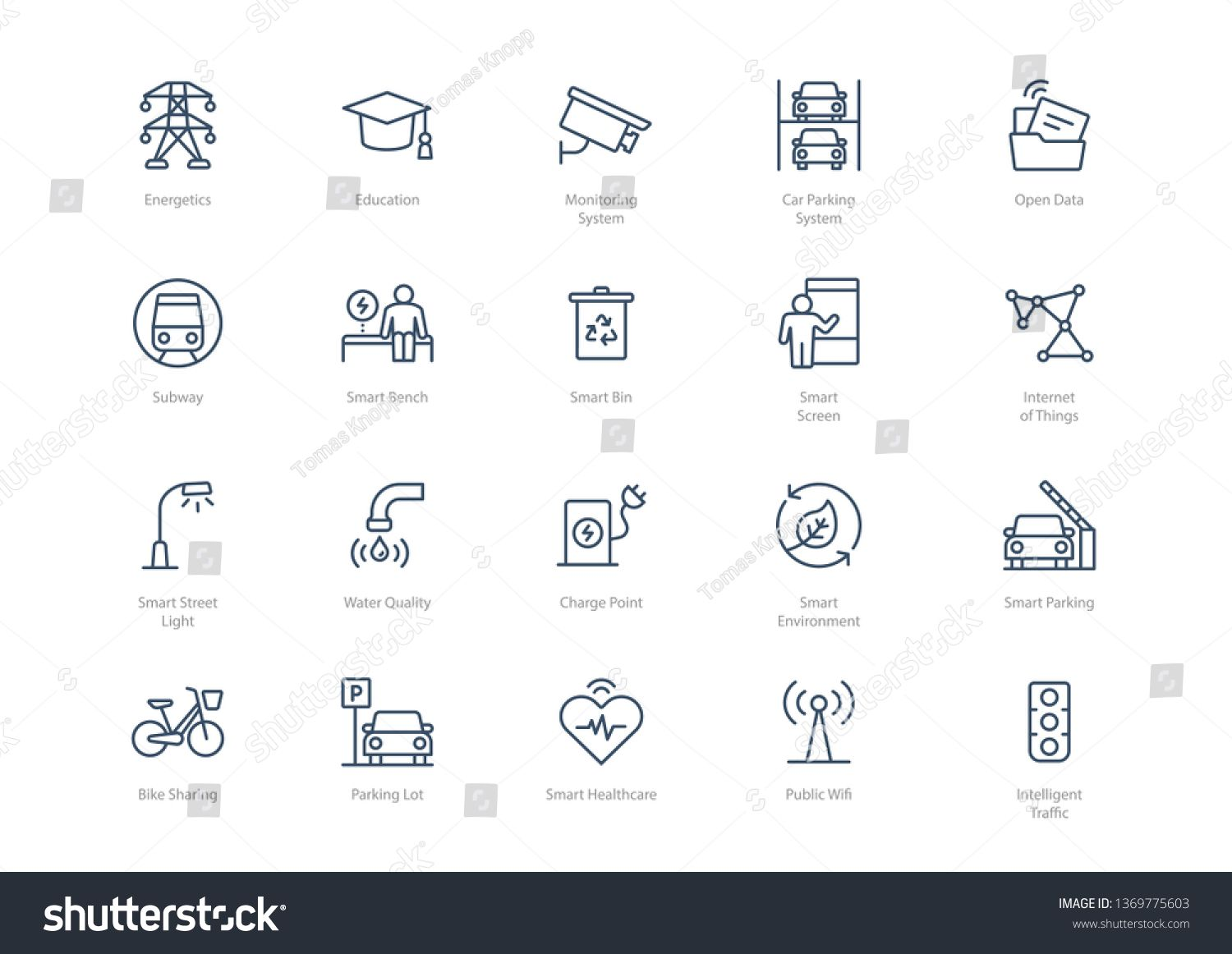 Set Of Line Smart City Icons Isolated On Light Background Contains Such Icons Energetics Education Charge Point Inte City Icon Smart City Lights Background