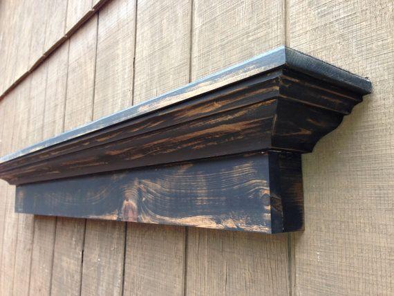 Rustic wall shelf Black distressed mantel shelf