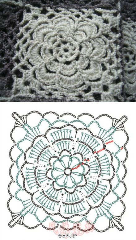 Crochet granny square - flower unit rose crochet pattern | Crochet ...