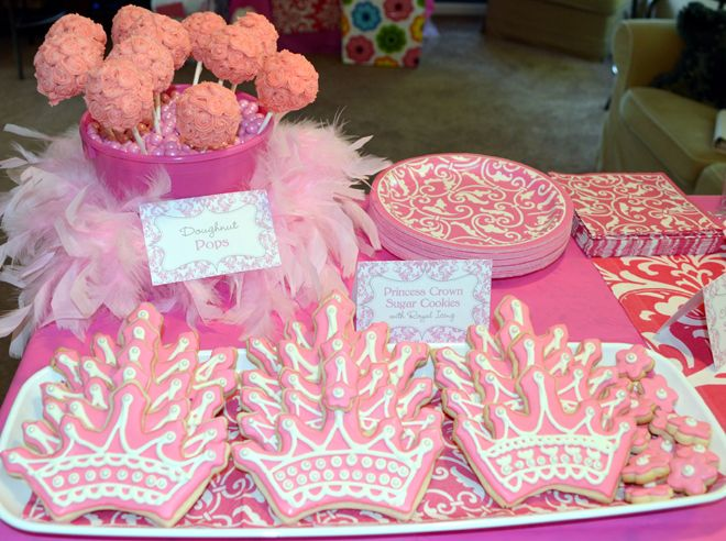 Pink Damask Princess 1st Birthday Party Birthday party desserts