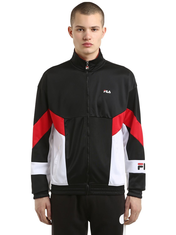 Fila Talbot Zip Up Acetate Track Jacket Fila Cloth Track Jackets Nike Clothes Mens Red Sweatshirts