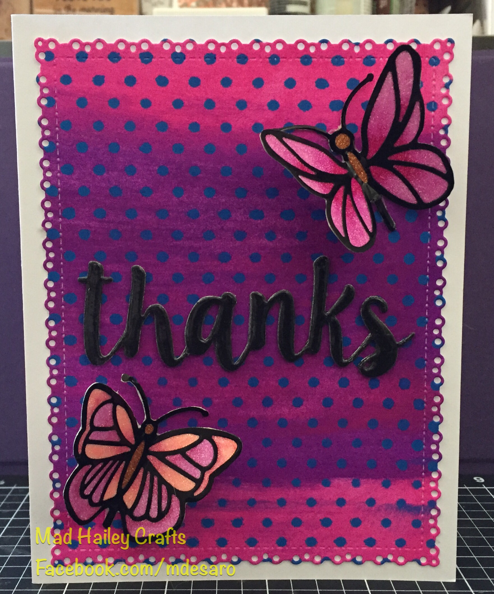 Thanks card. Used Dyan Reaveley Dylusions paints in