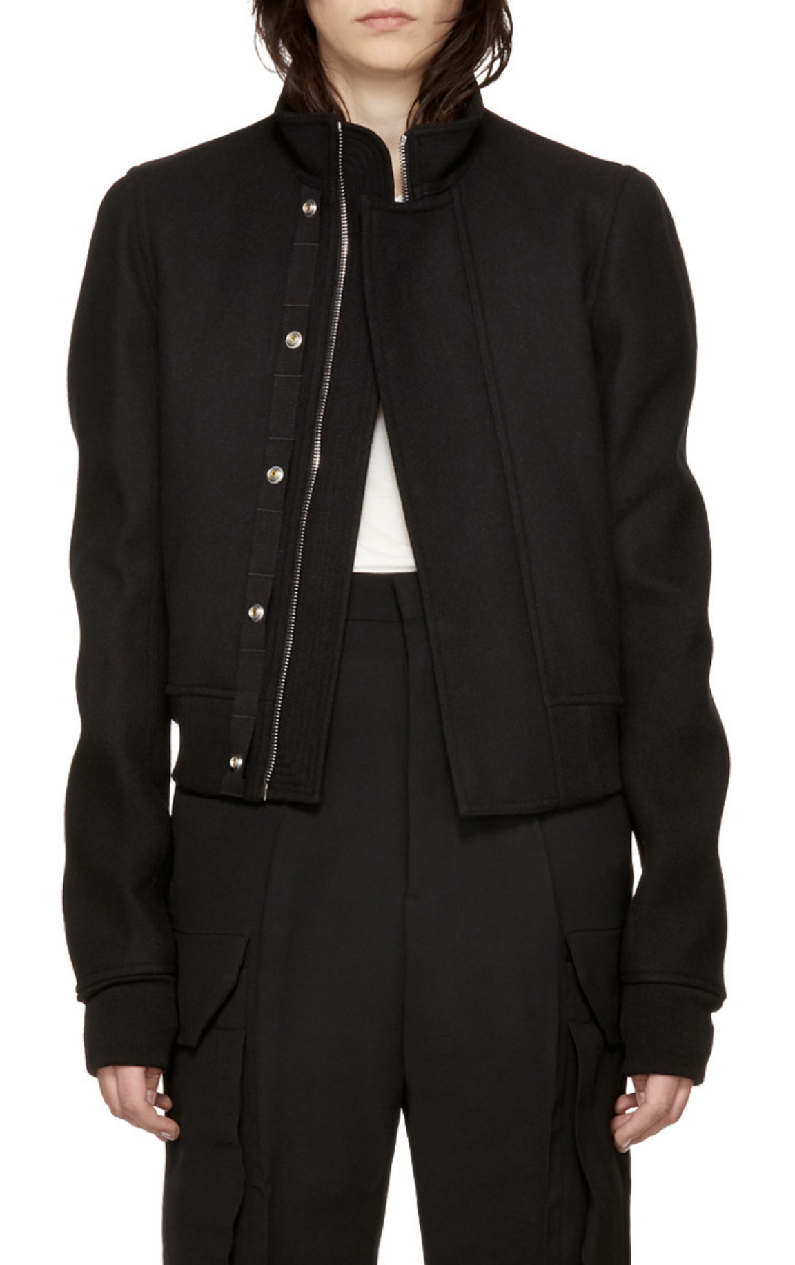 Rick Owens Black Glitter Egon Jacket from SSENSE (men, style, fashion, clothing, shopping, recommendations, stylish, menswear, male, streetstyle, inspo, outfit, fall, winter, spring, summer, personal)